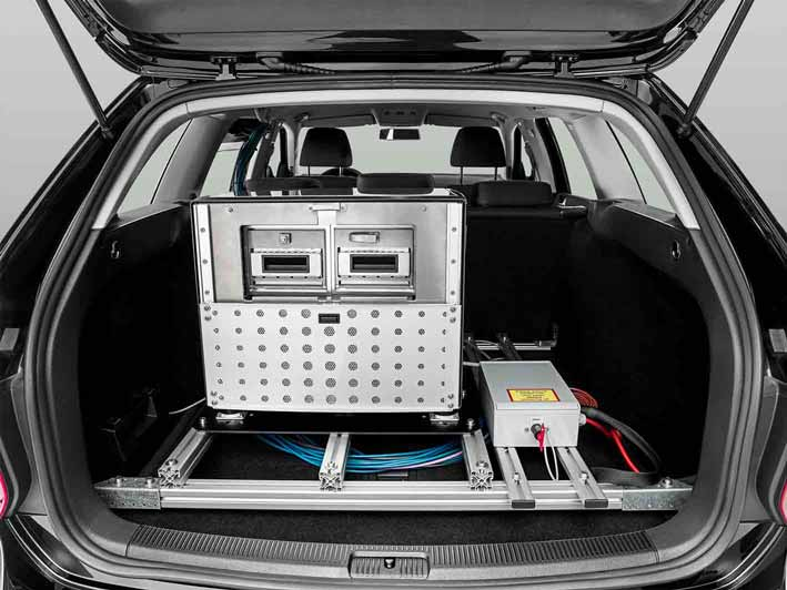 Computer and data storage in the trunk of the car