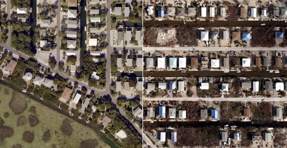 Pre- and post-disaster comparison