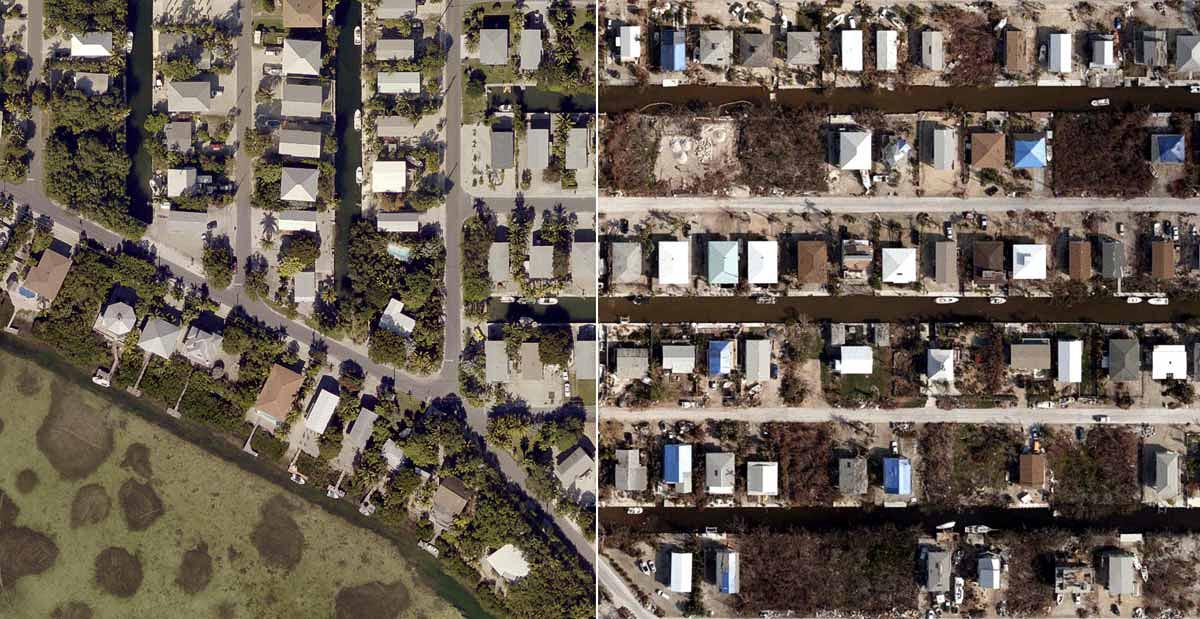 Pre- and post disaster comparison
