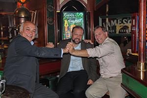 Krzysztof Konieczny at a bar with other Vexcel Sales Partner